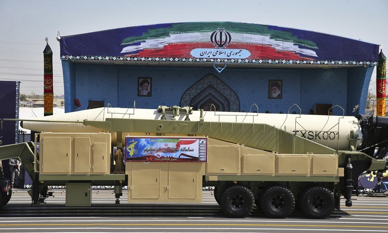 Iran's Khoramshahr missile is displayed by the Revolutionary Guard during a military parade marking the 37th anniversary of Iraq's 1980 invasion of Iran, in front of the shrine of late revolutionary founder Ayatollah Khomeini, just outside Tehran, Iran, Friday, Sept. 22, 2017. —AP