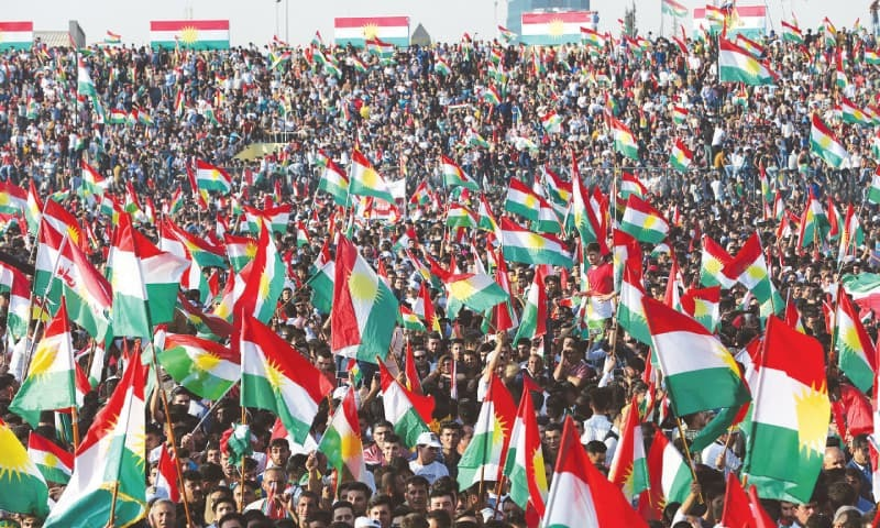 Kurds celebrate to show their support for the upcoming independence referendum on Friday.— Reuters