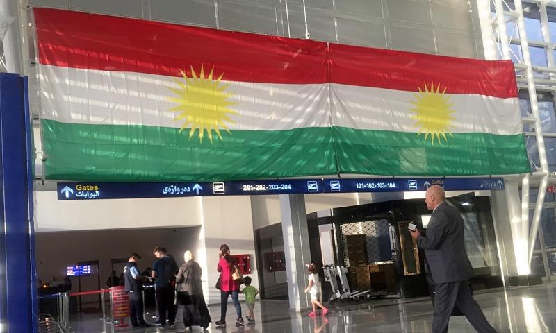A Kurdish flag hangs in the Irbil International Airport, in Iraq, Wednesday, Sept. 27, 2017. —AP