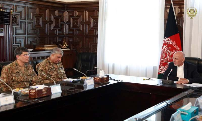 COAS Gen Bajwa called on Afghan President Ashraf Ghani on October 1 in Kabul. —Photo courtesy Office of the Afghan president