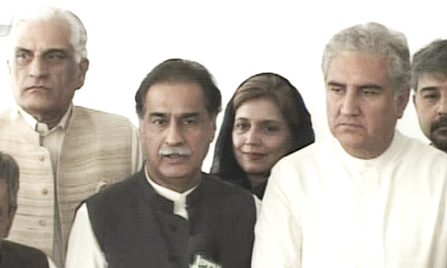NA Speaker Ayaz Sadiq and PTI's Shah Mehmood Qureshi speak to the media after meeting of parliamentary leaders on Oct 4.—DawnNews