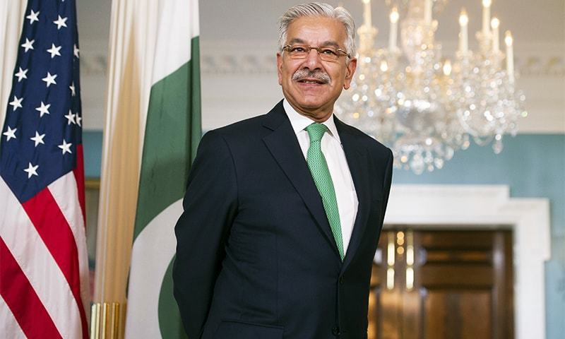 In this October 4, photo, Foreign Minister Khawaja Asif stands during a meeting with Secretary of State Rex Tillerson at the State Department in Washington.— AP