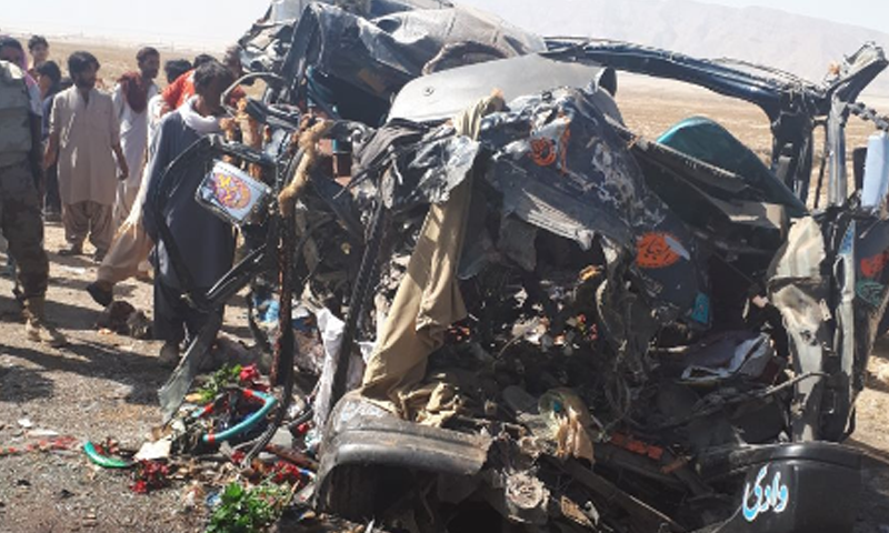 The wreckage of the vehicle following the accident.— DawnNews