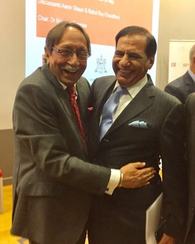 Former RAW head Amarjit Singh Dulat with former ISI director general  Ehsanul Haq in London.—Photo courtesy Ayesha Siddiqa Twitter account