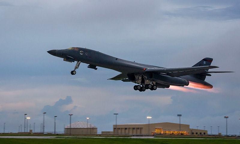دو B-1B طیاروں نے جاپانی سمندر حدود اور اس کے گردو نواح میں پرواز کی—۔فوٹو/ اے ایف پی