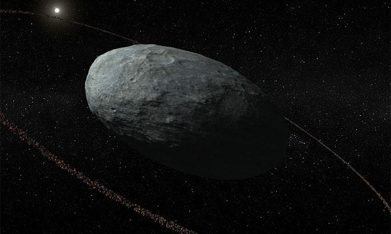 The size, shape, density and ring of the dwarf planet Haumea from a stellar occultation