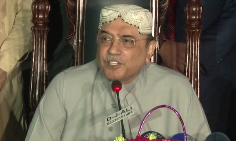 PPP-Parliamentarians President Asif Ali Zardari addresses a press conference. ─DawnNews