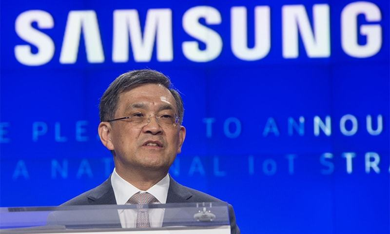 "This file photo taken on June 21, 2016 shows Kwon Oh-Hyun, Vice Chairman and CEO of Samsung Electronics, speaking during the ""Internet of Things: Transforming the Future"" conference at the Washington Post Live Conference Center in Washington.— AFP"
