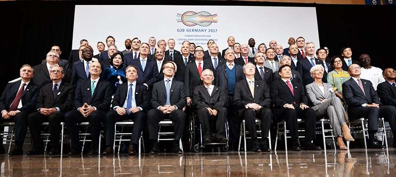 G20 Finance ministers pose for a group photo at the IMF headquarters during the World Bank Group/International Monetary Fund Annual Meetings in Washington, DC. ─ AFP
