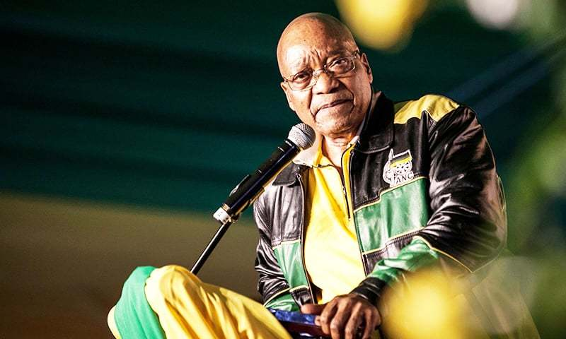 South Africa's President Jacob Zuma attends celebrations for his 75th birthday in Kliptown, Soweto.─AFP