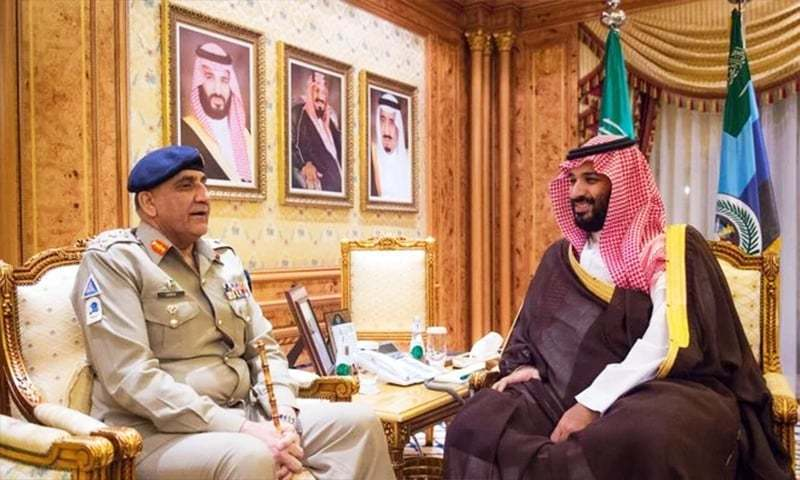 Chief of the Army Staff Gen Qamar Javed Bajwa  meeting Saudi Crown Prince Mohammed bin Salman.— Photo courtesy Arab News