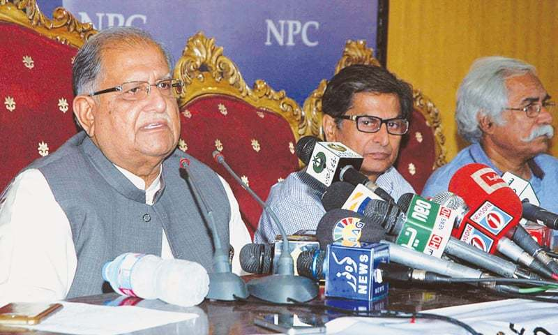MINISTER for Inter-Provincial Coordination Mian Riaz Hussain Pirzada addressing a press conference.—APP