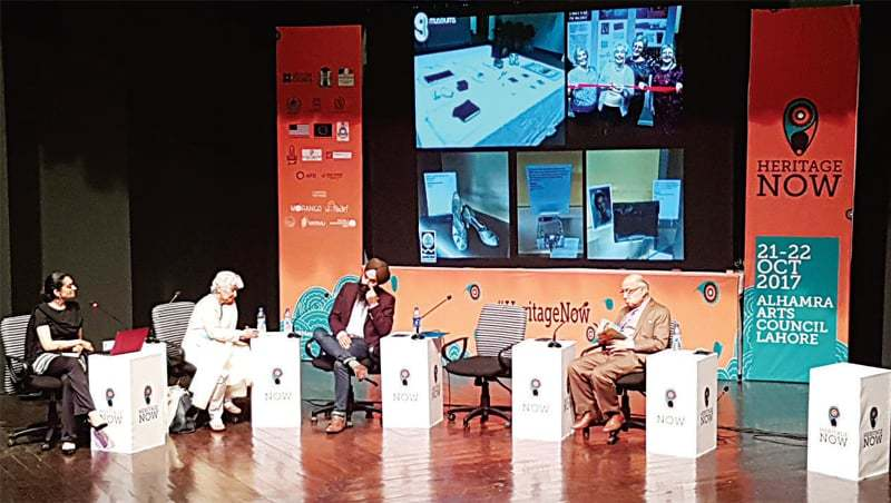 Risham Syed, Dr Arifa Syeda, Jasdeep Singh and Dr Tariq Rahman in a session on 'Heritage and Identity: Windows of Cultural Paradigms'.
