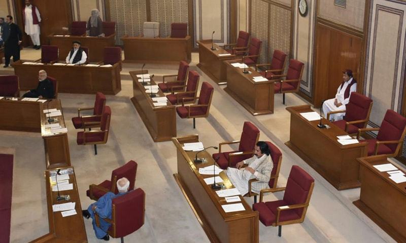 Most of the seats in Balochistan Assembly are seen empty during a session on Saturday.—Online