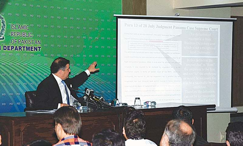 Federal Minister for Privatisation Daniyal Aziz gives a presentation to reporters at the Press Information Department on Saturday.—APP