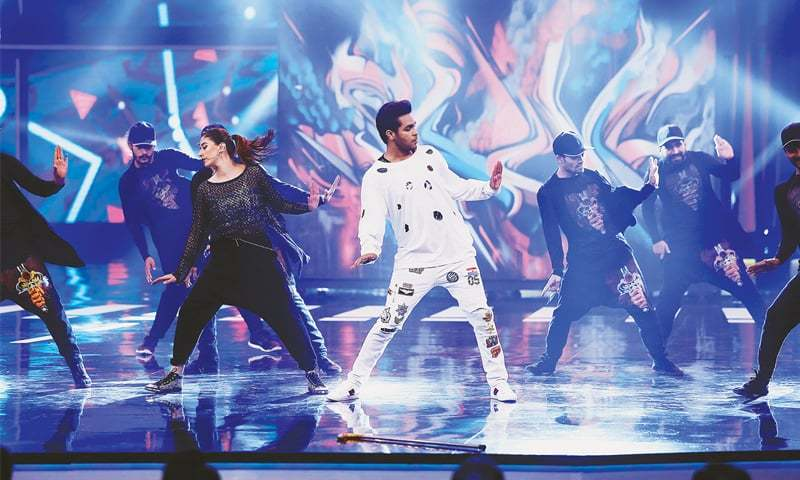 Asim Azhar and Syra Shehroz perform at the awards ceremony held at the Expo Centre on Saturday night.