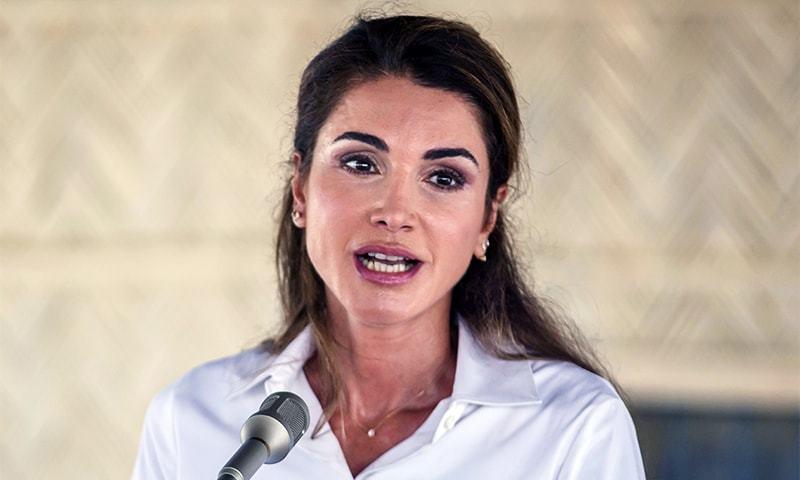 Queen Rania of Jordan, speaks to media during her visit to Kutupalong refugee camp in Bangladesh. — AP