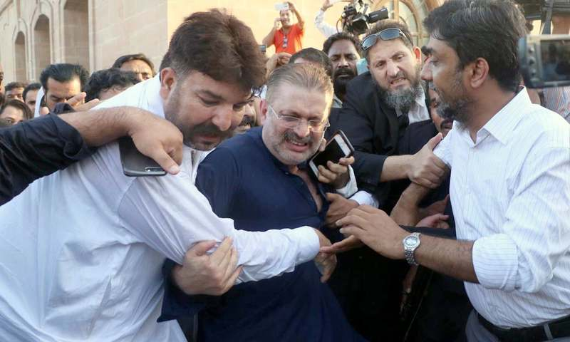 NAB officials arrest PPP leader Sharjeel Memon outside Sindh High Court. —Online