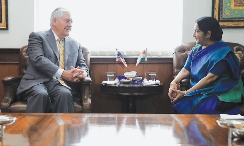 NEW DELHI: US Secretary of State Rex Tillerson and his Indian counterpart Sushma Swaraj hold talks at the Ministry of External Affairs here on Wednesday.—AFP