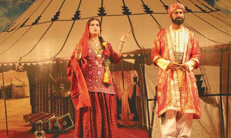 ARTISTS perform in a drama Dodo Soomro jo maut staged in a segment of the Laar Festival in Badin.—Dawn