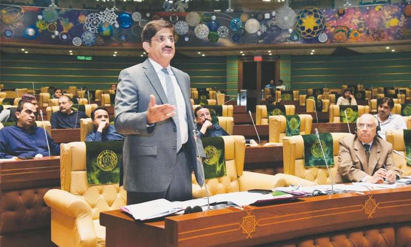 SINDH Chief Minister Murad Ali Shah speaks during the assembly session on Thursday.—PPI
