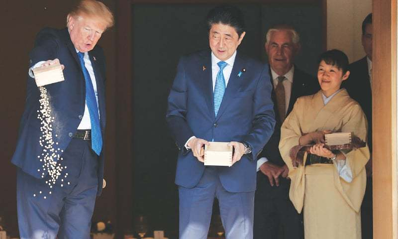 Us president warns time for patience on n korea is over for Trump feeding fish
