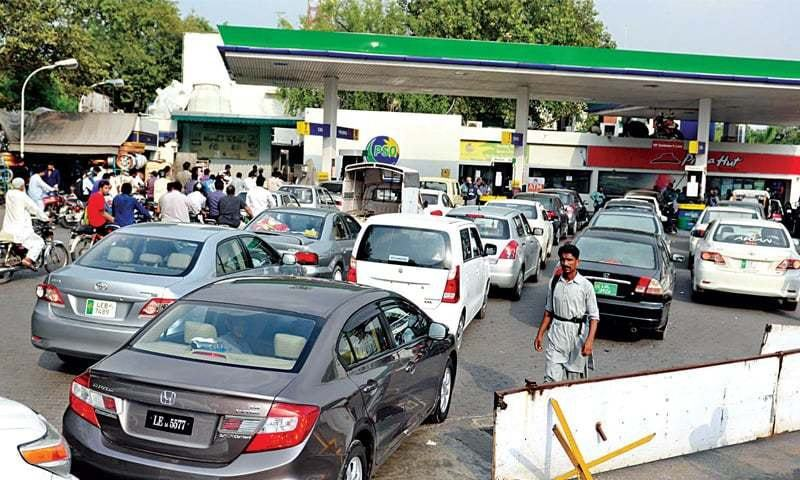 CARS queue up at a fuel station. Hascol Petroleum has supported the claim by Honda Atlas about high manganese content in petrol.—File photo