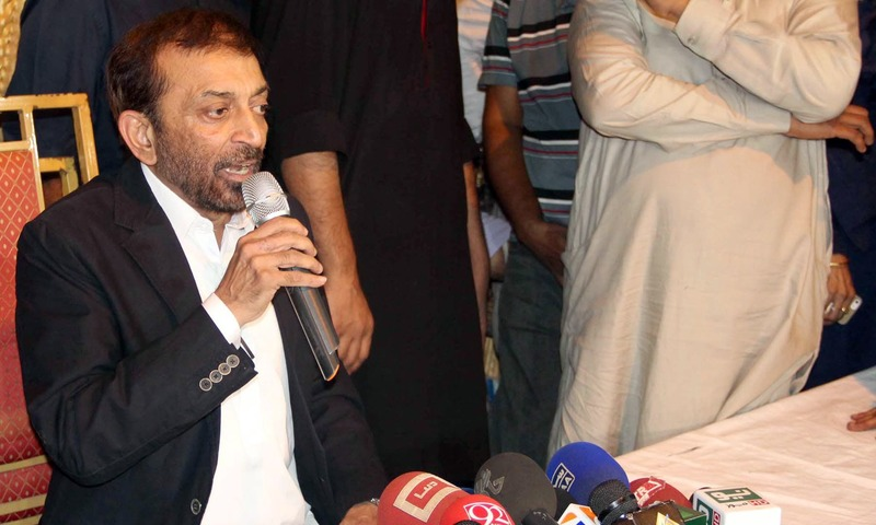 Dr Farooq Sattar addresses a press conference at his residence in PIB Colony. —Online