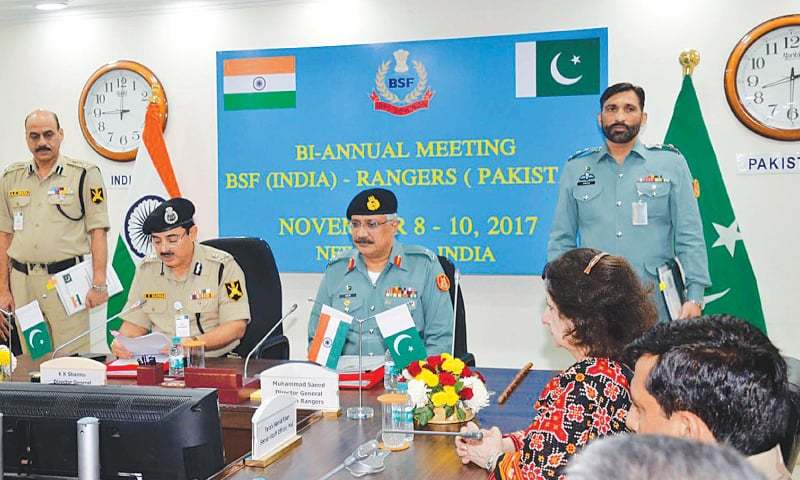 NEW DELHI: Sindh Rangers DG Maj Gen Muhammad Saeed attends the fourth biannual meeting with the Border Security Forces officials at the BSF headquarters on Friday.—PPI