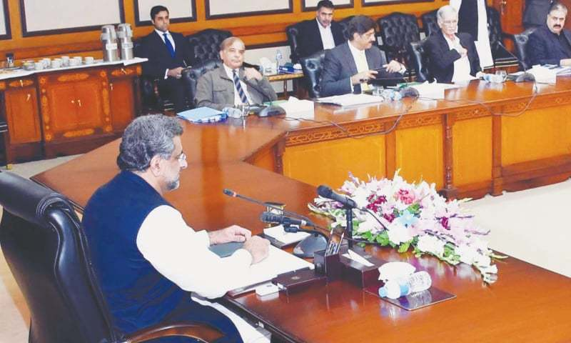 PRIME Minister Shahid Khaqan Abbasi chairs the meeting of the Council of Common Interests on Monday.—Online