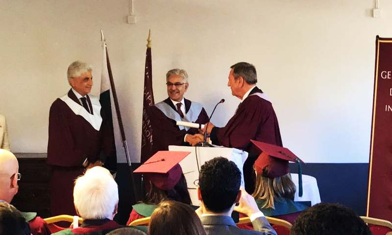 Khawaja Asif receives the Doctor of International Relations (DIR) degree at Geneva School of Diplomacy and International Relations (GSD). —Photo courtesy GSD