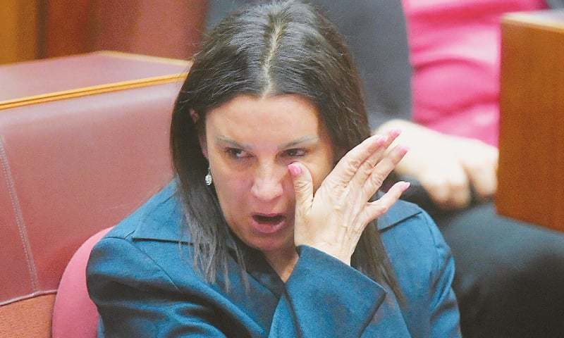 Canberra: Jacqui Lambie, an independent and outspoken senator for the island state of Tasmania, reacts after delivering a statement regarding her resignation on Tuesday.—Reuters