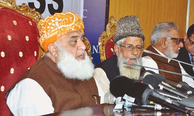 ISLAMABAD: Jamiat Ulema-i-Islam-Fazl chief Maulana Fazlur Rehman speaks at the 'meet the press' programme of the National Press Club on Tuesday.—APP