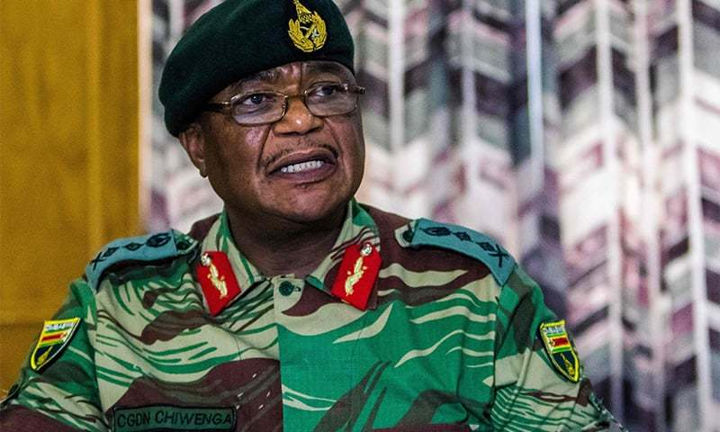 This file photo taken on November 13, 2017 shows Army General Constantino Chiwenga Commander of the Zimbabwe Defence Forces addressing a media conference held at the Zimbabwean Army Headquarters in Harare. ─ AFP