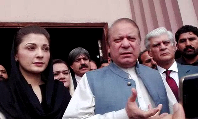 Nawaz Sharif speaks to the media outside the accountability court. — DawnNews