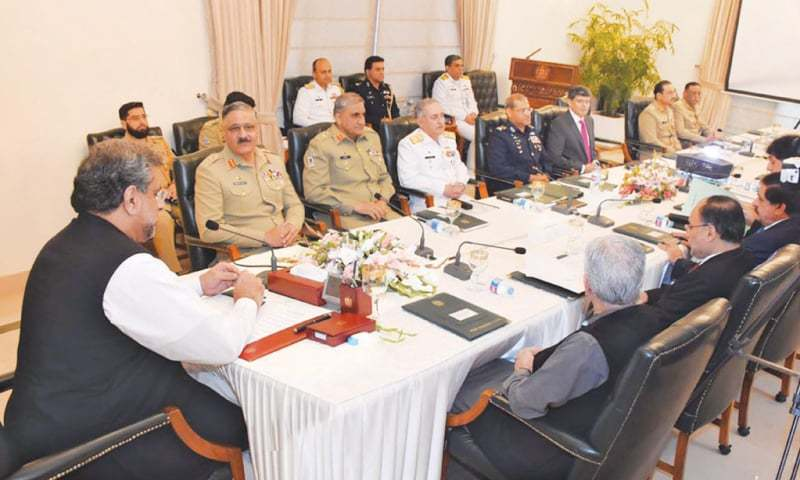 PRIME Minister Shahid Khaqan Abbasi chairs a meeting of the National Security Committee in Islamabad on Wednesday.—PPI