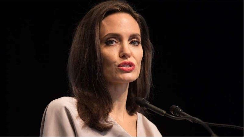 UNHCR Special Envoy Angelina Jolie giving the keynote address to delegates at the 2017 United Nations Peacekeeping Defence Ministerial conference in Vancouver. PHOTO: The Canadian Press
