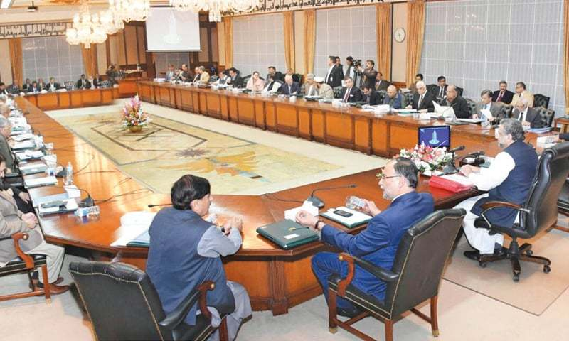 Islamabad: Prime Minister Shahid Khaqan Abbasi chairs a meeting of the federal cabinet at the Prime Minister's Office on Thursday.—APP