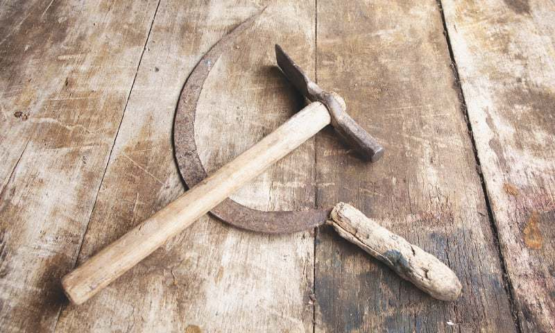 The symbol created during the Russian Revolution used a hammer to signify industrial workers and a sickle to represent farmers. It went on to become the party symbol for communists around the world, including the Communist Party of Pakistan
