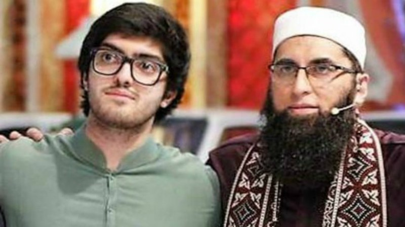 Babar (left) pictured with his later father, Junaid Jamshed