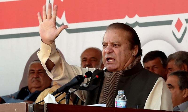 Nawaz Sharif addresses a public rally in Quetta. —AFP