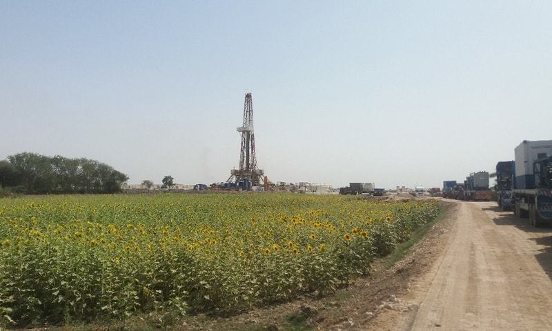 A view of the Aqeeq-1 hydrocarbon well site in Sujawal Block, Sindh, operated by Mari Petroleum.—File photo