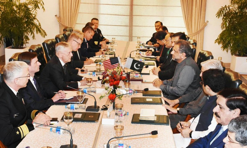 PM SHahid Khaqan Abbasi met with US Defence Secretary James Mattis in Islamabad on Monday. —FO