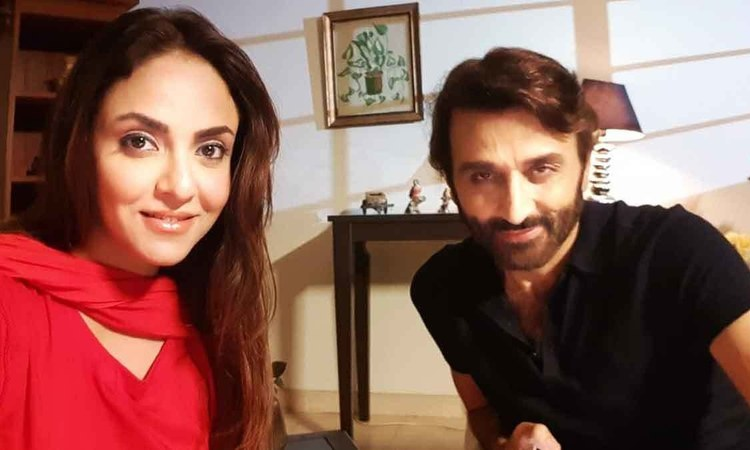 Nadia Khan with Faisal Rehman on the set of her upcoming drama, Kaisi Aurat Ho Tum