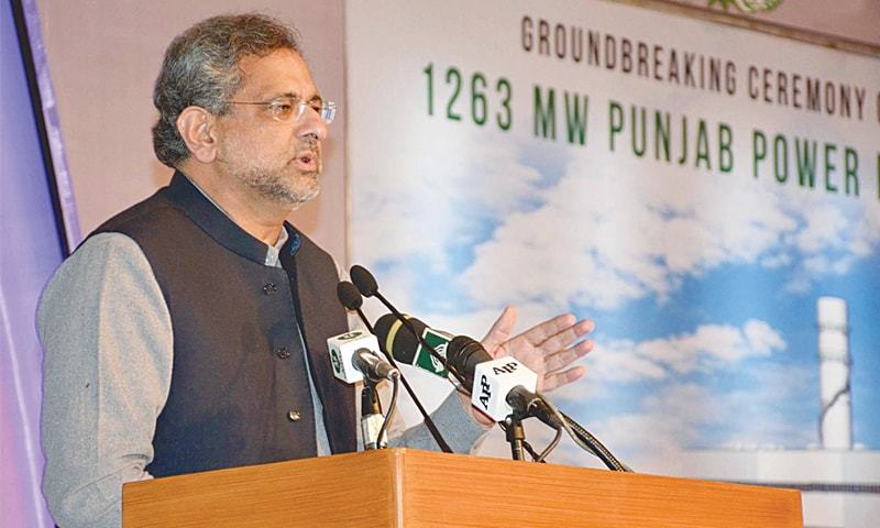 PRIME Minister Shahid Khaqan Abbasi addresses the gathering at the groundbreaking ceremony on Saturday.—INP