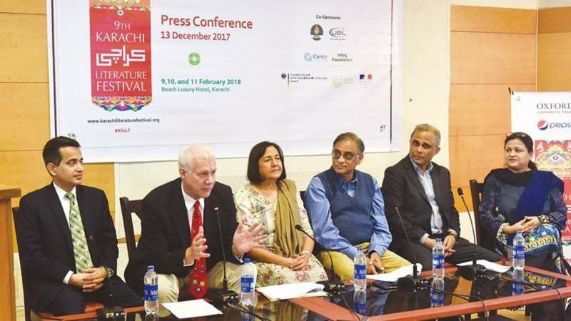 German Consul General in Karachi Rainer Schmiedchen addresses the press conference at the Arts Council on Wednesday —White Star