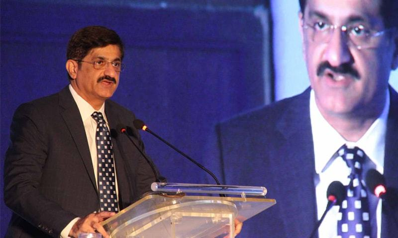KARACHI: Chief Minister Murad Ali Shah is speaking at a conference  on Thursday.—PPI