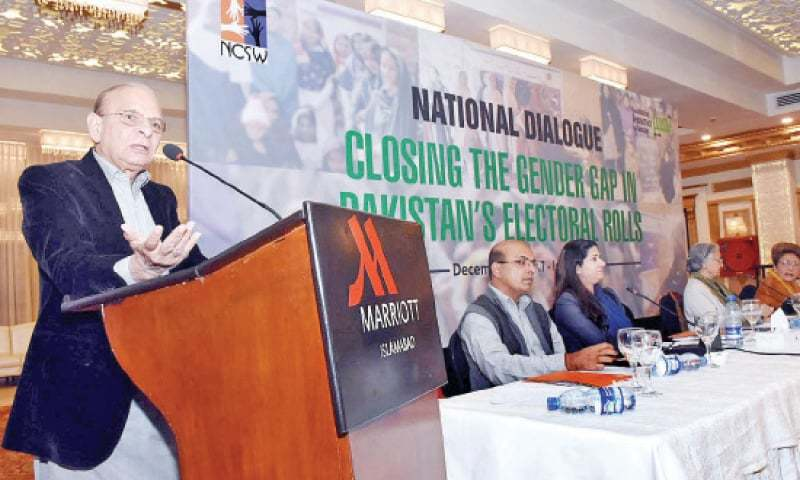 Federal Minister for Human Rights Mumtaz Ahmed Tarar speaks at the national dialogue on Friday. — APP