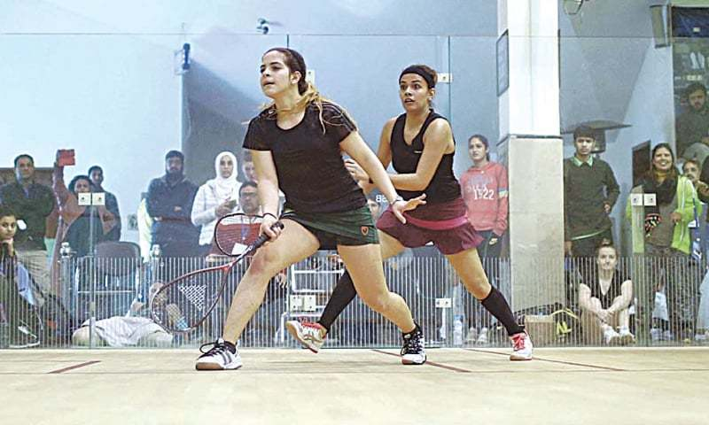 ISLAMABAD: Players are in action during the qualifying round of the CAS International Women's Squash Championship at the Mushaf Squash Complex on Monday.—courtesy PSF