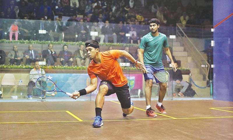 ISLAMABAD: Players compete during their match of the Pakistan Open Men's Championship at the Mushaf Squash Complex on Tuesday.—APP